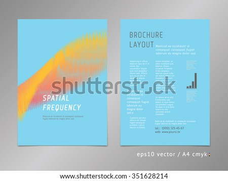 Brochure, catalog, cover, page abstract layout template. Start and growth concept. Oscilloscope signal representation. Spectrum-like lines, contrast blue color style. - stock vector