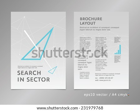 Brochure, catalog, cover, page layout template. Low polygonal design, geometric sharp surfaces, minimalistic color style. Arrow shape. Moving, thinking forward, progress concept on stars background. - stock vector