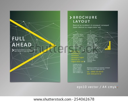 Brochure, catalog, cover, page layout template. Low polygonal design, geometric sharp surfaces, minimalistic eco color style. Arrow shape. - stock vector