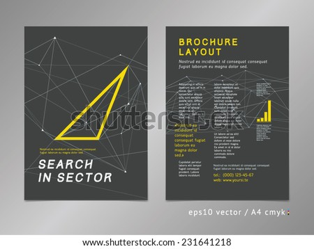 Brochure / catalog / cover / page layout template. Polygonal design, geometric sharp surfaces, minimalistic color style. Triangle arrow shape, progress theme. Thinking forward concept.  - stock vector