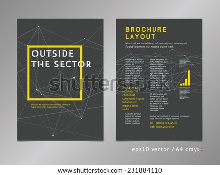 Brochure, catalog, cover, page layout template. Think outside the box concept on stars background. Low polygonal design, geometric sharp surfaces, minimalistic color style. Square shape. - stock vector