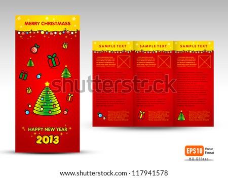 Brochure Christmas Tri-fold Vector Layout Design Template - Xmas - stock vector