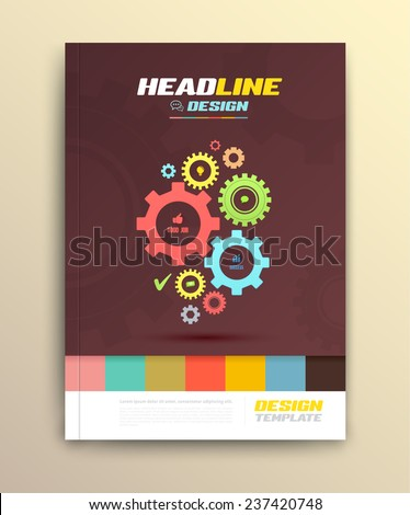 Brochure cover design with cog wheels Templates. Abstract Flyer Modern Backgrounds. - stock vector