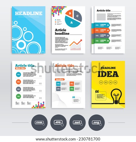 Brochure design and A4 flyers. Top-level internet domain icons. Com, Eu, Net and Org symbols with hand pointer. Unique DNS names. Infographics templates set. Vector - stock vector