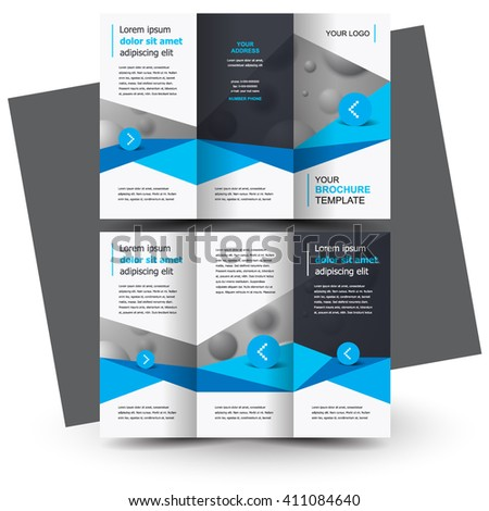 Brochure design, business brochure template, creative tri-fold, trend brochure polygons - stock vector