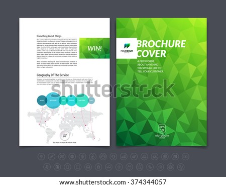 Brochure design, flyer, cover, booklet and report layout template with green polygonal background. Vector illustration.