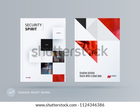 Brochure design rectangular template. Colourful modern abstract set, annual report with shapes for branding.