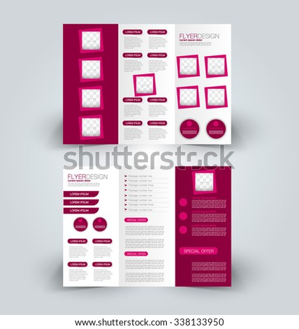 Brochure design template. Abstract background. for business, education, advertisement. Trifold booklet editable printable vector illustration.  Pink color. - stock vector