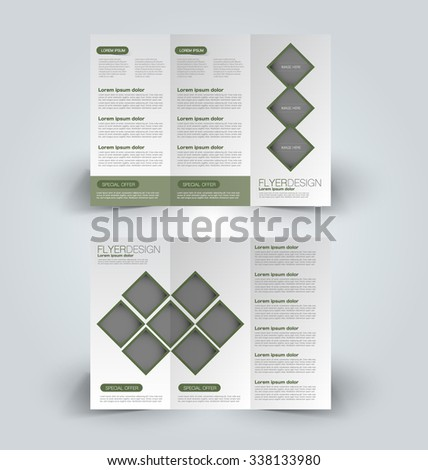 Brochure design template. Abstract background. for business, education, advertisement. Trifold booklet editable printable vector illustration.  Green color. - stock vector