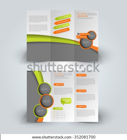 Brochure design template. Abstract background. for business, education, advertisement. Trifold booklet editable printable vector illustration. Orange and green color. - stock vector