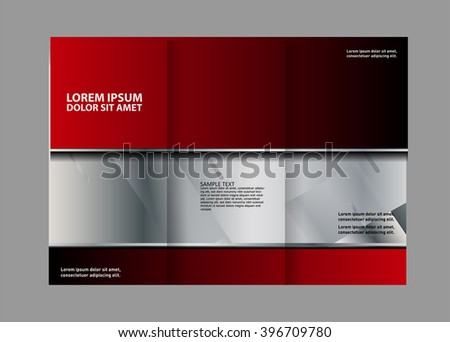 Vector Empty Bifold Red Brochure Print Stock Vector 417153946