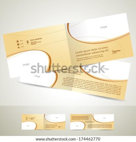 brochure design template booklet beige curve line - stock vector