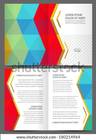 brochure design template - booklet catalog colored geometric rhombus, frame for images - stock vector