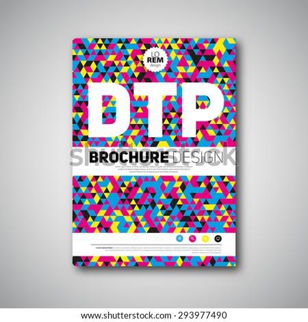 Brochure design template cover book, cmyk polygraphy - stock vector