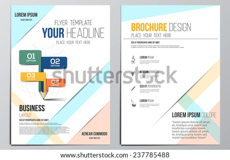 Brochure Design Template.Education concept, Geometric shapes, Abstract Modern Backgrounds, Infographic Concept. Vector - stock vector