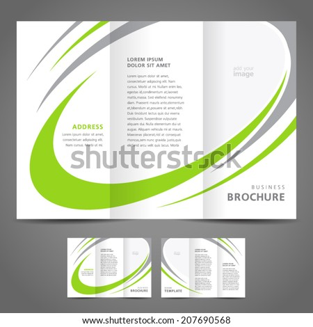 brochure design template folder leaflet green grey line element white background - stock vector