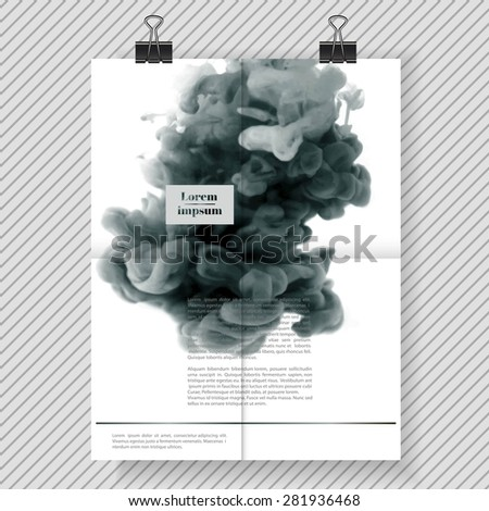 Brochure design template for your company (colorful ink in water) - stock vector