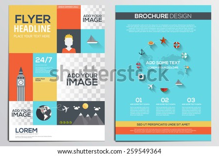 Brochure Design Template. Geometric shapes, Abstract Modern Backgrounds, Infographic ,Travel Concept.Flat design. Vector - stock vector