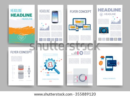 Templates Set Flyer Brochure Design Templates Stock Vector