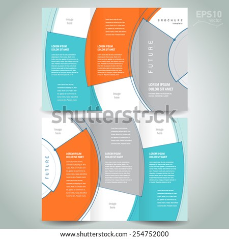 brochure design template tri-fold abstract - stock vector