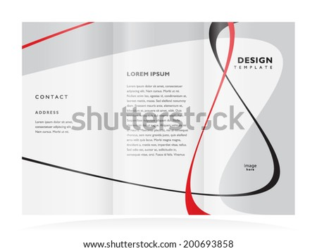 brochure design template tri-fold vector abstract curves - stock vector