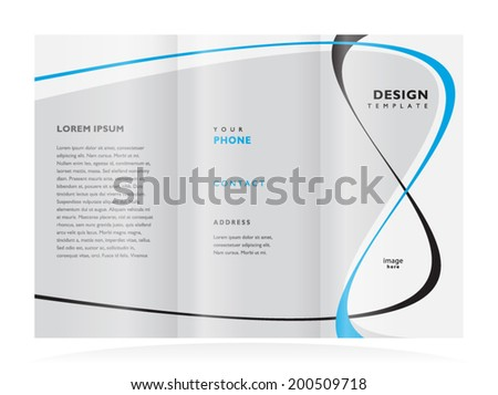 brochure design template tri-fold vector abstract curves line - stock vector