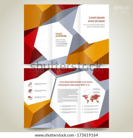 brochure design template trifold leaflet colored 3d dimensional element - stock vector