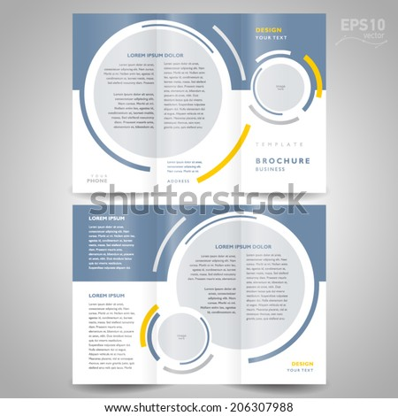 brochure design template trifold vector geometric abstract circle, color  grey - stock vector