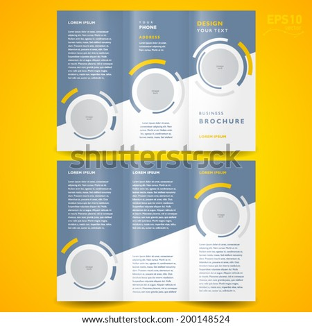 circle brochure template - brochure design template trifold vector geometric abstract