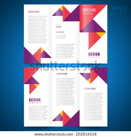 brochure design template trifold vector geometric abstract triangles - stock vector