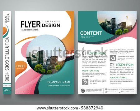 Brochure design template vector. Abstract circle cover book portfolio minimal presentation poster. City concept in A4 layout. Green flyers report business magazine.