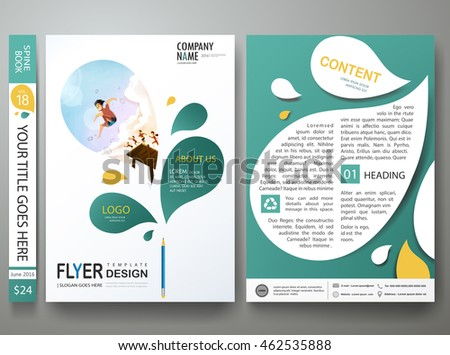 Brochure design template vector.Business flyers report magazine poster template layout.Cover book portfolio presentation abstract green leaf design.Layout design in A4 brochure poster size background.