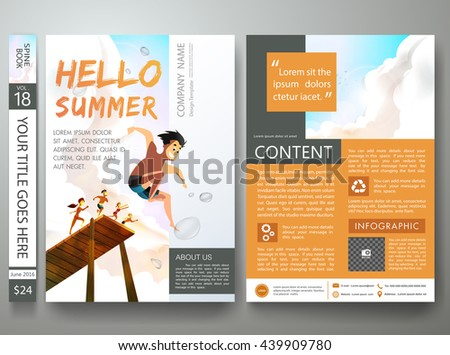 Brochure design template vector. Business flyers report magazine poster. Cover book portfolio summer sea presentation orange blue sky. Layout in a4 size.