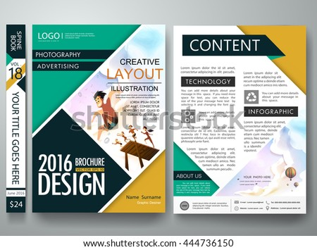 Brochure design template vector. Business flyers report summer magazine poster. Cover book portfolio presentation green shape. Summer on a4  layout.