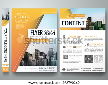 Brochure design template vector.City design on A4 brochure layout.Orange abstract hexagon in cover book portfolio presentation poster.Flyers report business magazine poster layout portfolio template.