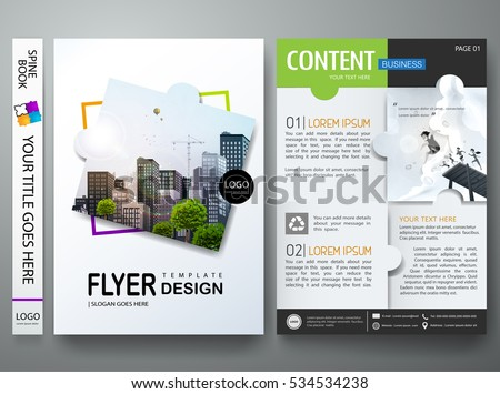 Brochure design template vector. Flyers annual report business magazine poster and portfolio. Flat leaflet cover book presentation. Abstract minimal jigsaw pattern and city. Layout in A4 size.
