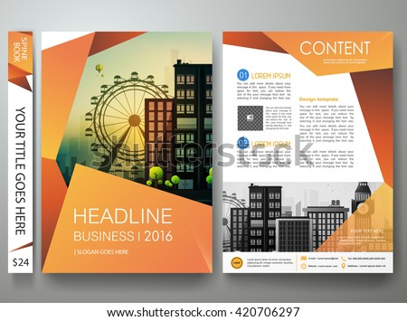 Flyers design template vector.Brochure annual report business magazine poster.Leaflet flat cover book presentation with abstract orange shape and flat city background. Layout in A4 size.illustration. - stock vector