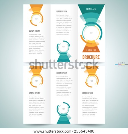 brochure design template vector geometric abstract circles and triangles - stock vector