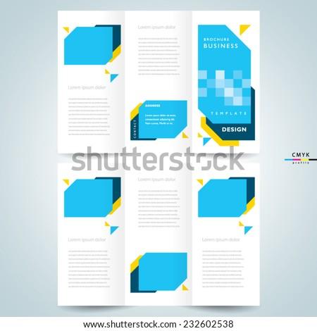 brochure design template vector - geometric abstract figuge, cmyk profile - stock vector