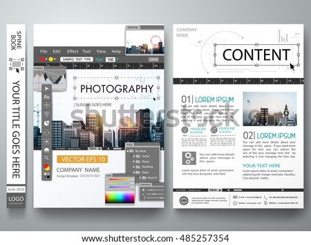 Brochure design template vector.Photography editor monitor design.Cover book portfolio presentation poster.City design on A4 layout.Flyers business photo magazine portfolio layout.Workspace designer.