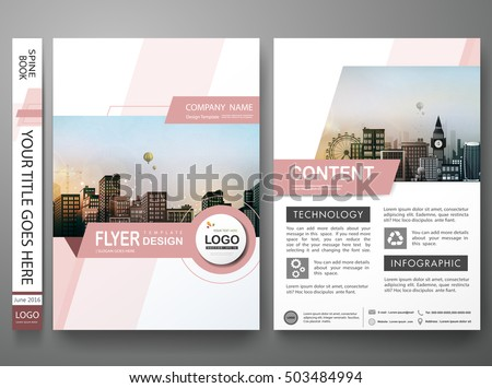 Brochure design template vector.Pink abstract shape cover book portfolio presentation poster.City design on A4 brochure layout. Flyers report business magazine poster layout portfolio template.
