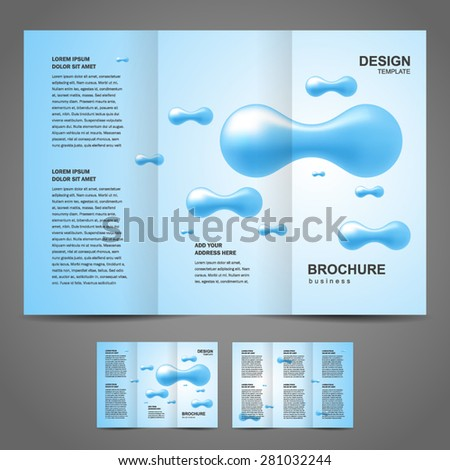brochure design template vector tri-fold abstract drops - stock vector