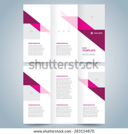 brochure design template vector tri-fold abstract triangles - stock vector