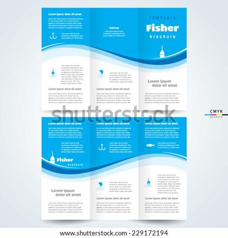 brochure design template vector tri-fold fisher, cmyk profile - stock vector
