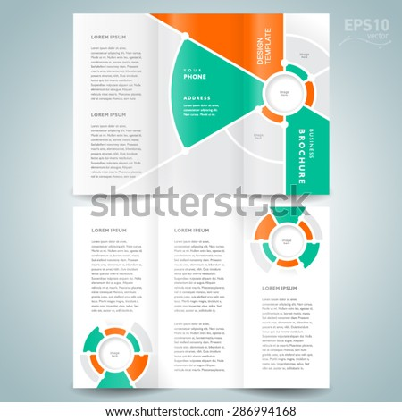 brochure design template vector tri-fold geometric abstract circles - stock vector