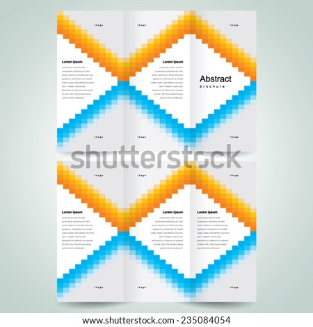 brochure design template vector tri-fold pixels mosaic abstract, cmyk profile  - stock vector