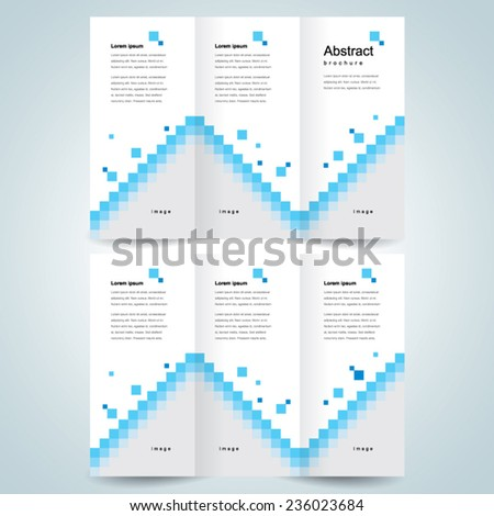 brochure design template vector trifold pixels mosaic abstract, cmyk profile - stock vector