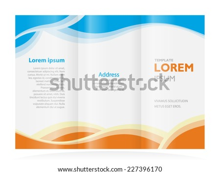brochure design template waves tri-fold - stock vector