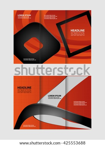 brochure design template waves tri-fold