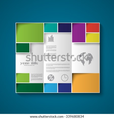 Brochure design template with color rectangles - stock vector